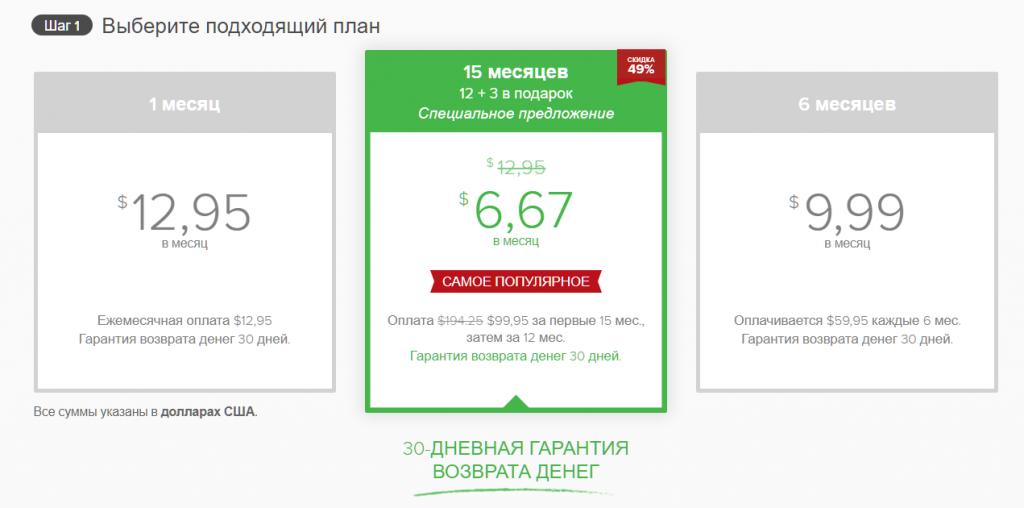 Снимок экрана с планами подписки на странице скрытых купонов ExpressVPN