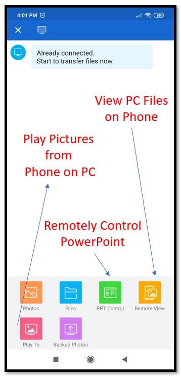 SHAREIT control PC