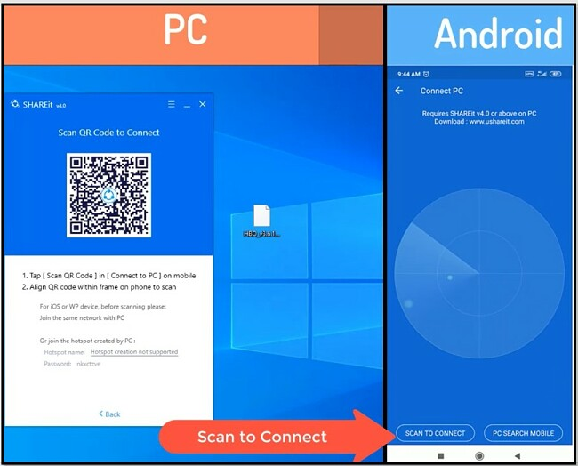 SHAREit Scan QR Code to Connect