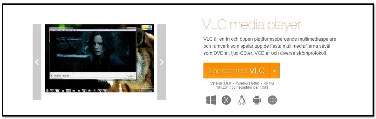 VLC officiell nedladdningssida