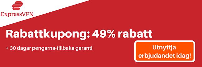 ExpressVPN-kupong för 49% rabatt och 3 månader gratis med 30-dagars pengarna-tillbaka-garanti