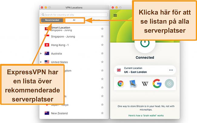 Skärmdump av ExpressVPN-appens serverlista