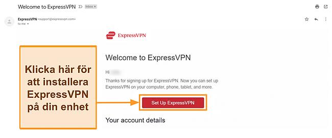 Skärmdump av ExpressVPN: s välkomstmail till nya kunder med inställningsinstruktioner