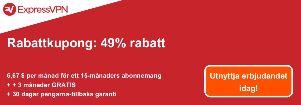 Grafik över en giltig ExpressVPN-kupong som erbjuder 49% rabatt och 3 månader gratis med en 30-dagars återbetalningsgaranti