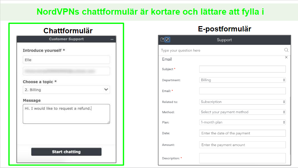 Skärmbilder av en begäran om återbetalning av NordVPN via livechat jämfört med e-post