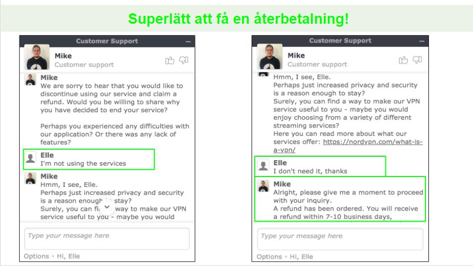 Skärmbilder av en återbetalningsbegäran via livechatt med en NordVPN-kundsupport.