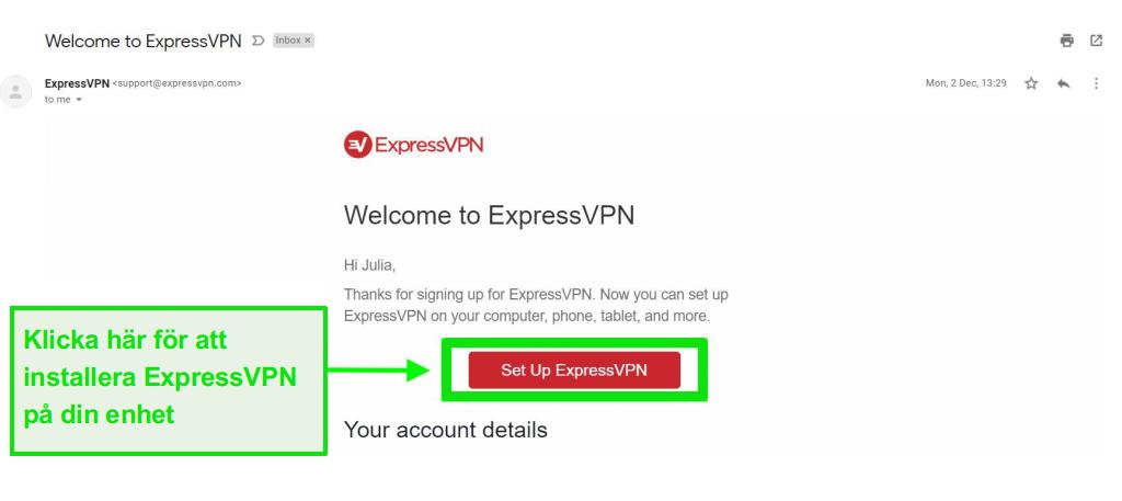 Skärmdump av ExpressVPN välkomstmail med information om konton