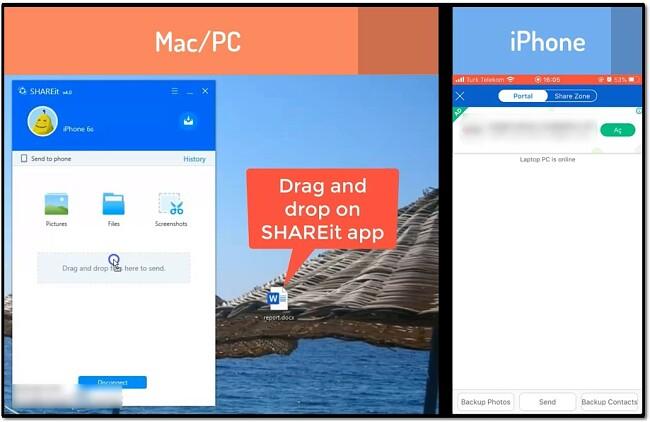 Shareit iphone - drag and drop