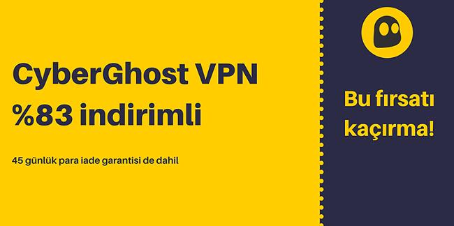 45 gün para iade garantisi ile% 83 indirim ve 3 ay ücretsiz sunan çalışan bir CyberGhost VPN kuponunun grafiği