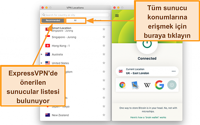 ExpressVPN uygulamasının sunucu listesinin ekran görüntüsü
