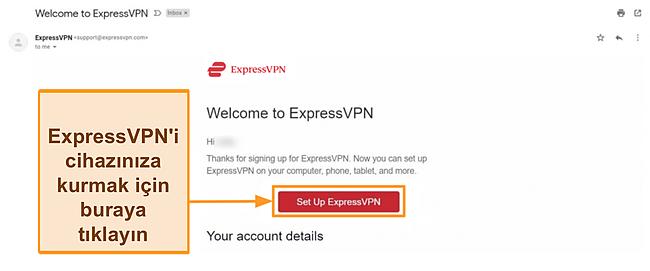 ExpressVPN'in kurulum talimatları ile yeni müşterilere hoş geldiniz e-postasının ekran görüntüsü