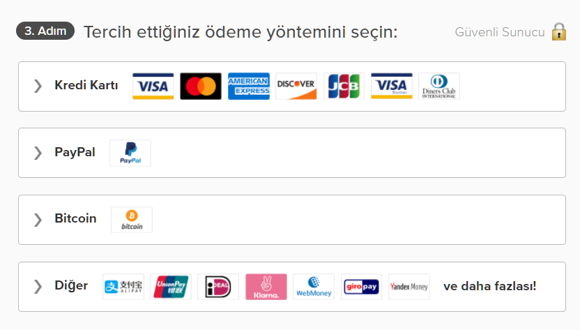 Screenshot of payment options on ExpressVPN's page including credit card, PayPal and Bitcoin