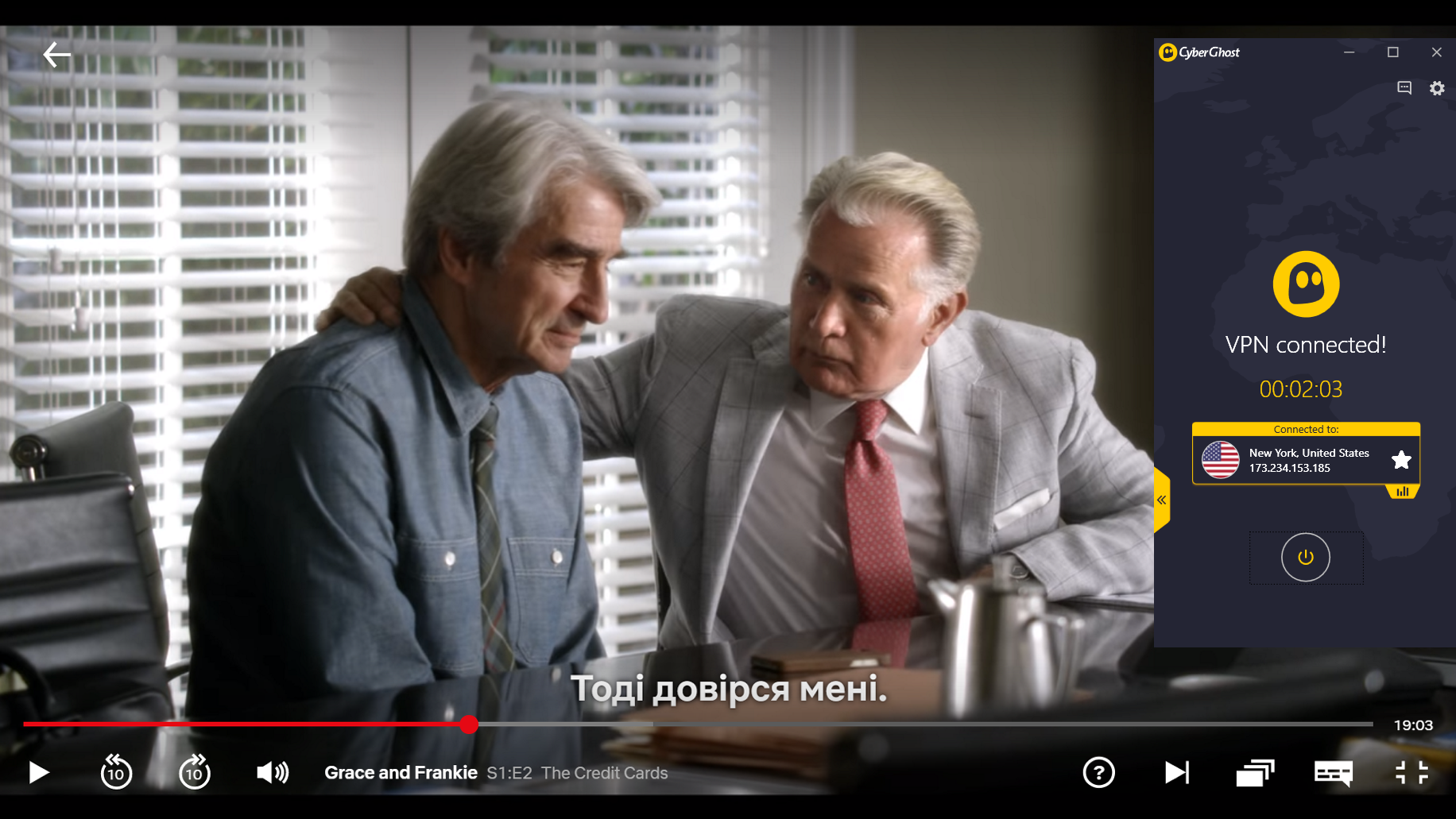 Screenshot of CyberGhost connected to US server with Grace and Frankie streaming on US Netflix