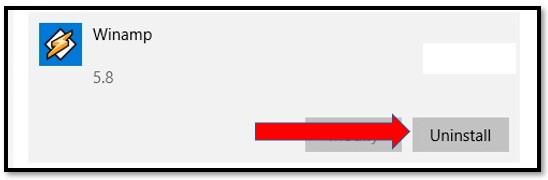 Uninstall Winamp from Windows