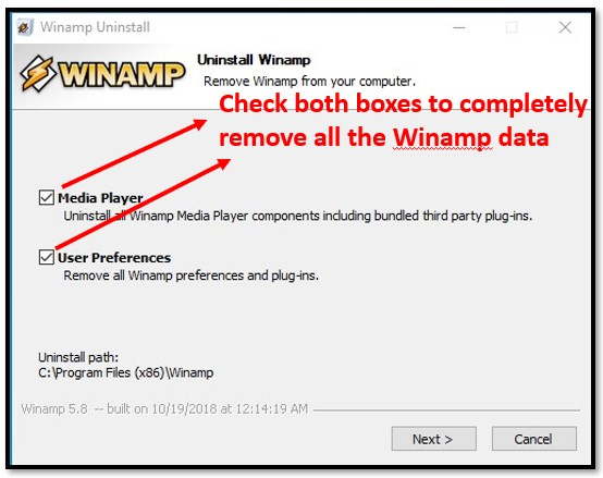 Uninstall Winamp Completely