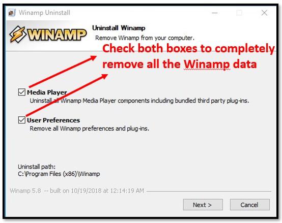 Uninstall Winamp