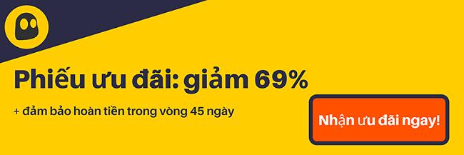 Hình ảnh một phiếu giảm giá CyberGhost VPN đang hoạt động cung cấp chiết khấu 69%, là $ 3,99 mỗi tháng khi đăng ký 1 năm với bảo đảm hoàn tiền trong 45 ngày