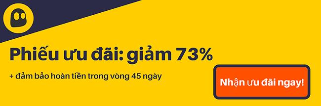 Hình ảnh một phiếu giảm giá CyberGhost VPN đang hoạt động cung cấp chiết khấu 73%, là 3,49 đô la mỗi tháng khi đăng ký 2 năm với bảo đảm hoàn tiền trong 45 ngày