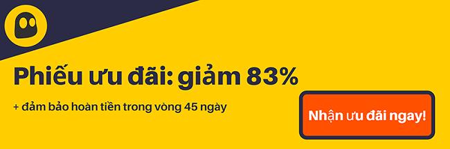 Hình ảnh của một phiếu giảm giá CyberGhost VPN đang hoạt động cung cấp chiết khấu 83%, là 2,25 đô la mỗi tháng khi đăng ký 3 năm với 3 tháng bổ sung miễn phí và đảm bảo hoàn tiền trong 45 ngày