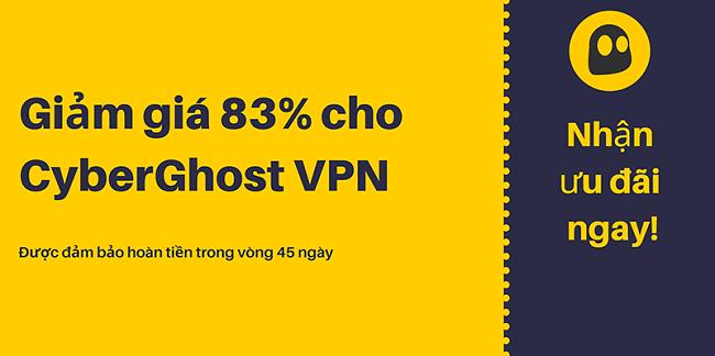 Hình ảnh một phiếu giảm giá CyberGhost VPN đang hoạt động cung cấp chiết khấu 83% và 3 tháng miễn phí với bảo đảm hoàn tiền trong 45 ngày
