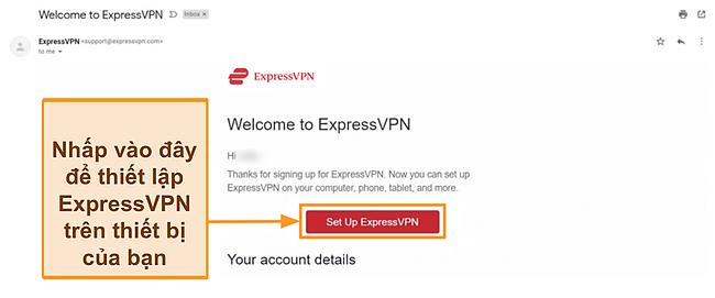 Ảnh chụp màn hình email chào mừng của ExpressVPN tới khách hàng mới kèm theo hướng dẫn thiết lập