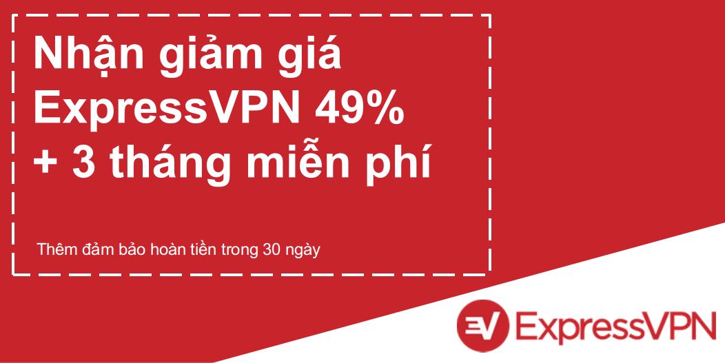 Đồ họa của phiếu giảm giá ExpressVPN hợp lệ cung cấp giảm giá 49% và 3 tháng miễn phí với bảo đảm hoàn lại tiền trong 30 ngày