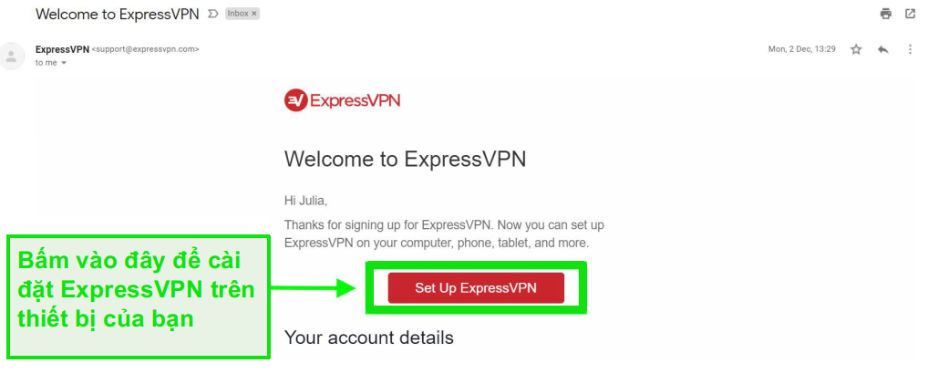 Ảnh chụp màn hình email chào mừng ExpressVPN với thông tin thiết lập tài khoản