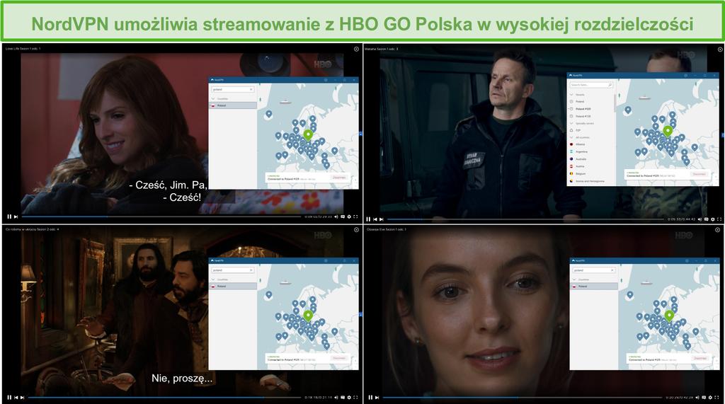 Zrzut ekranu przedstawiający połączenie NordVPN z serwerami w Polsce i streaming Love Life, Wataha, What We Do in the Shadows i Killing Eve z HBO GO Polska.