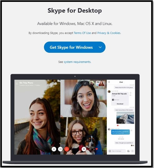 Pagina di download di Skype per desktop