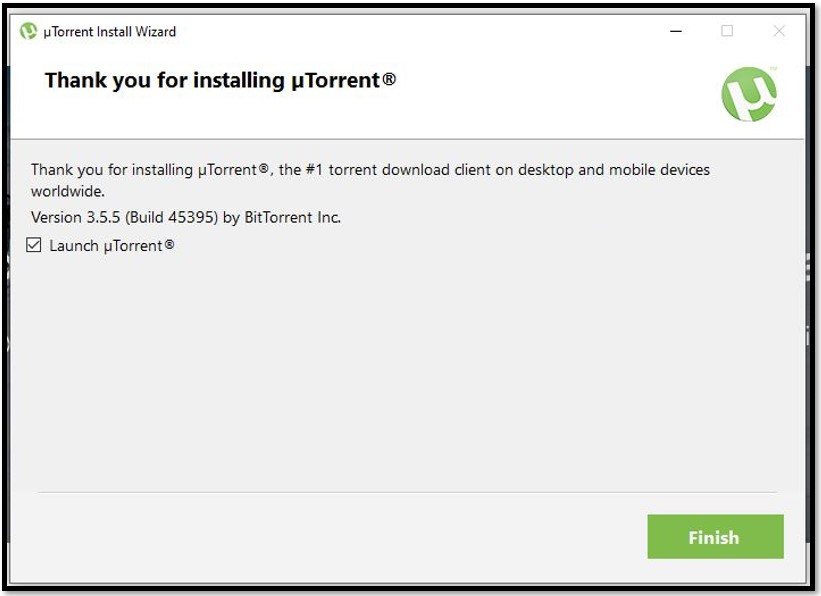 finish utorrent installation