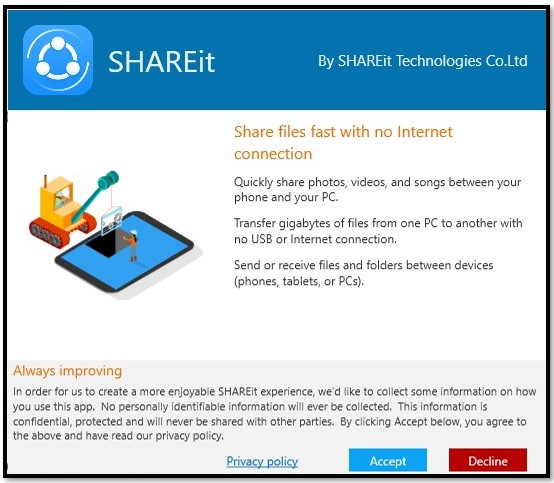 Accept Shareit Privacy Policy to Complete Installation