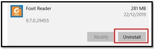 uninstall Foxit PDF Reader