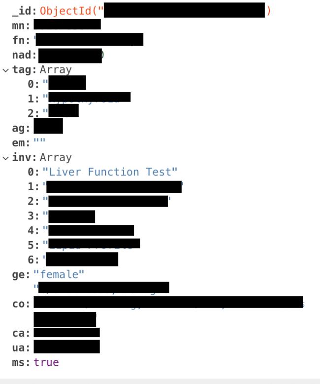 Screenshot of Aermed redacted leak data