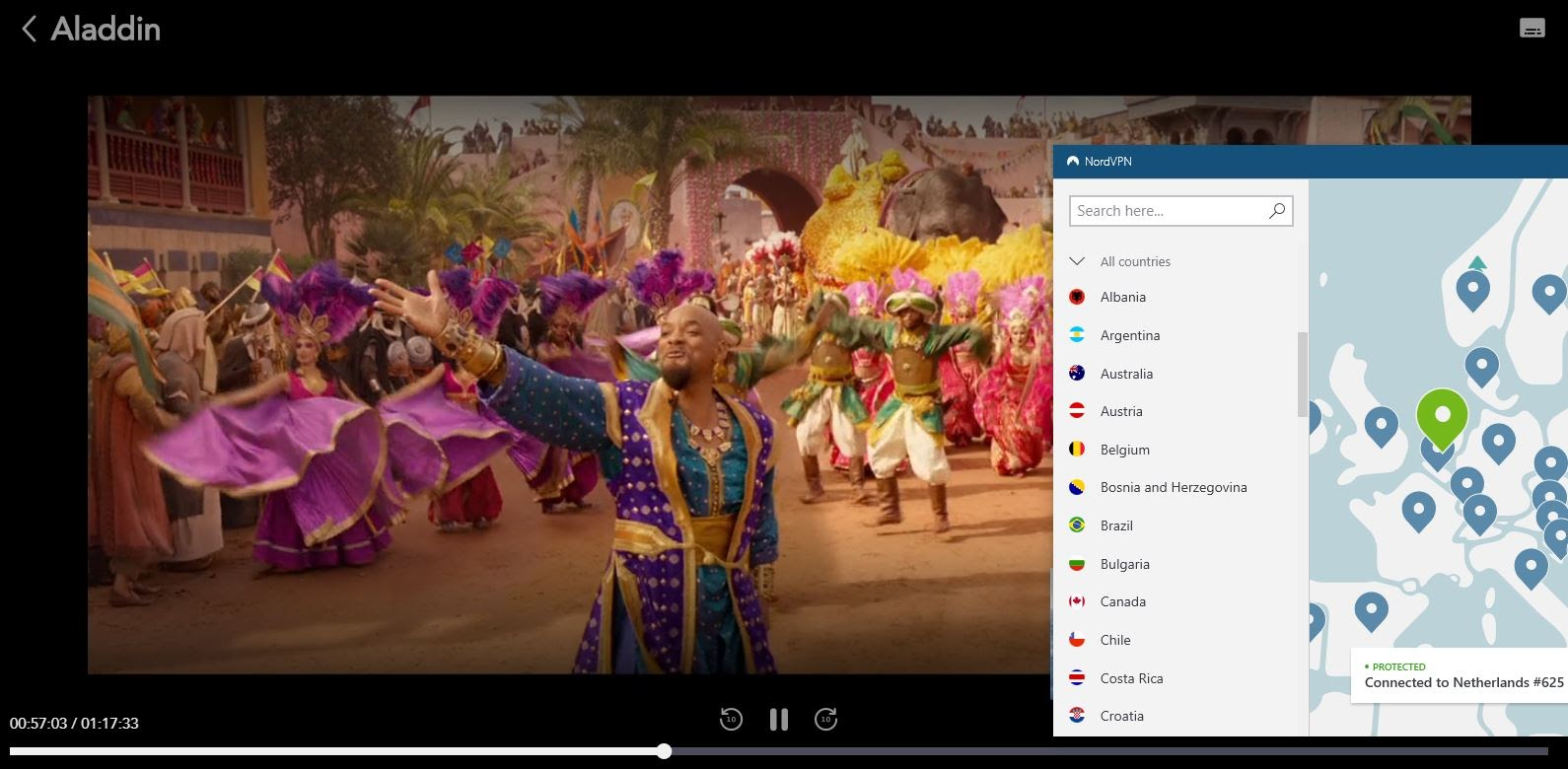Screenshot of NordVPN connected to a server in the Netherlands while streaming Aladdin on Disney Plus