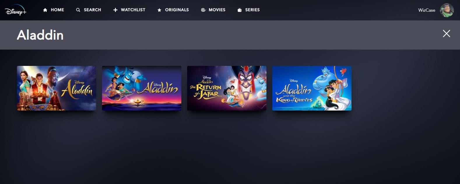 Screenshot of 4 Aladdin movies on Disney Plus streaming service