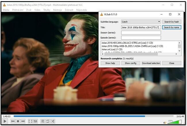 Přidejte informace o médiích do VLC VLsub