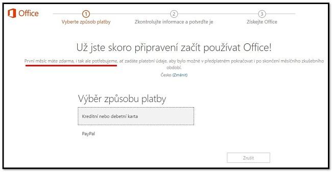 První měsíc sady Office 365 je zdarma