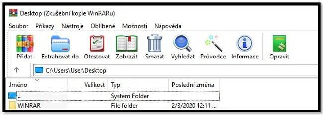 Domovská obrazovka WinRAR