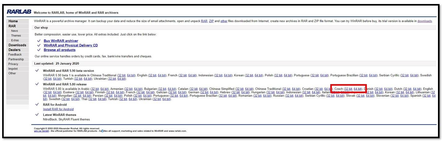 Stránka pro stažení WinRAR