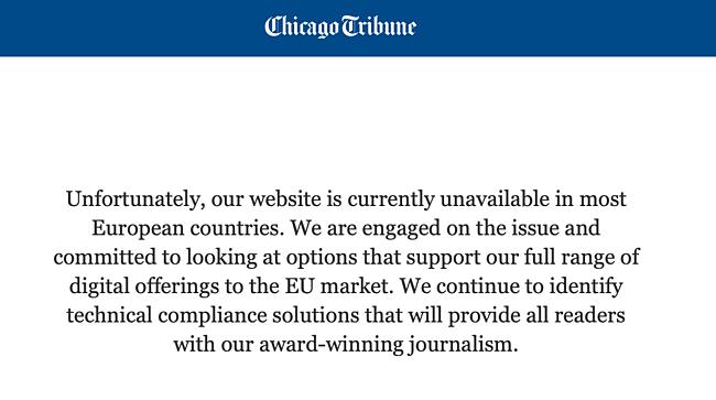 Съобщение за грешка в Chicago Tribune за европейски посетители.