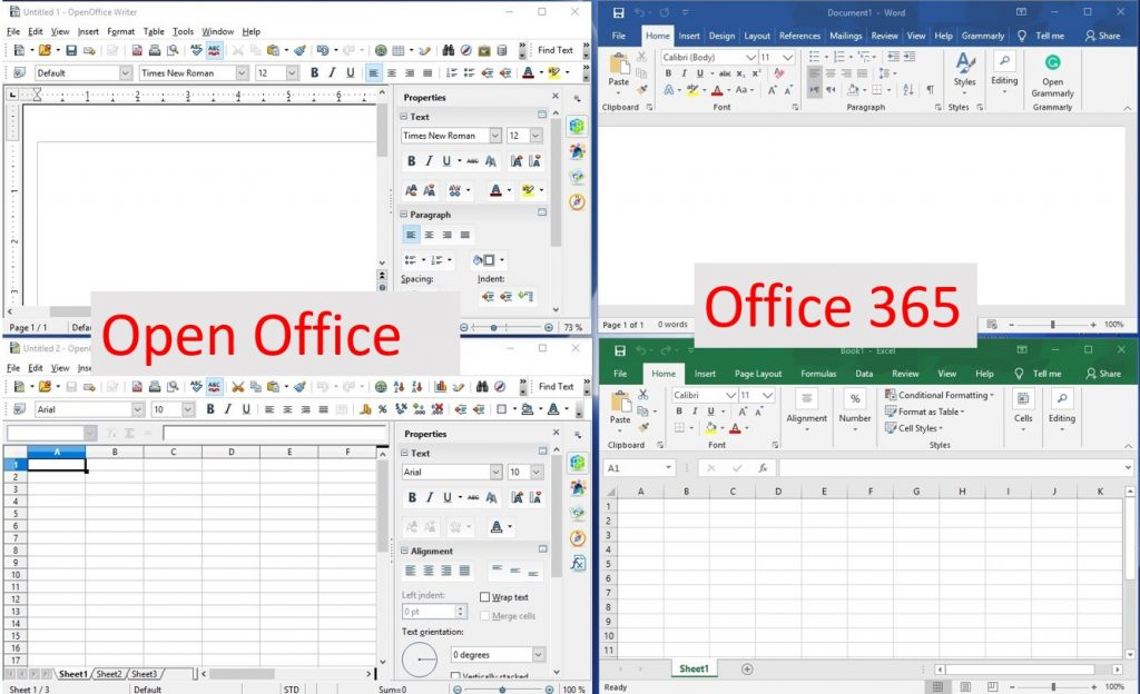 Comparing OpenOffice and Office365