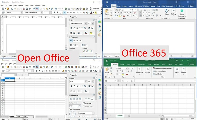 Compararea OpenOffice și Office365