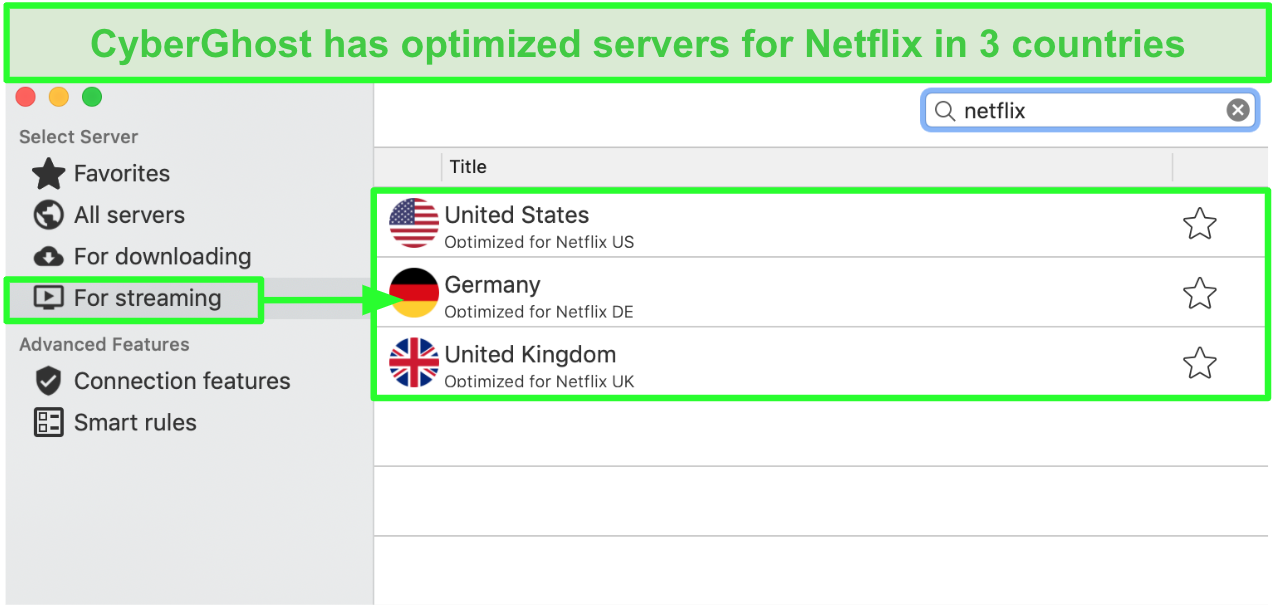 Screenshot of CyberGhost's optimized Netflix servers in the US, UK, and Germany