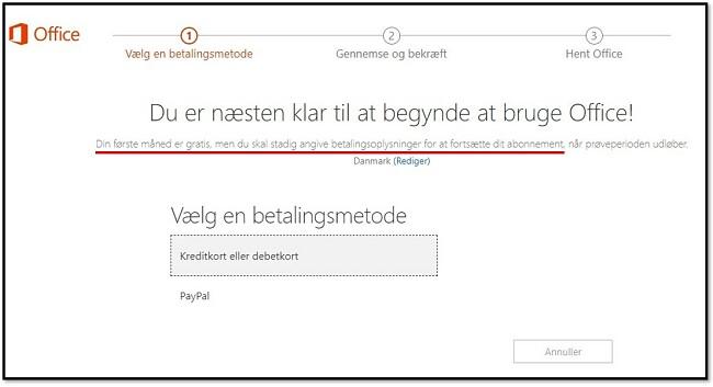 Den første måned af Office 365 er gratis