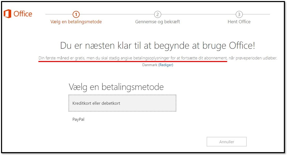 First month of Office 365 is free