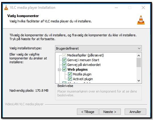 VLC Setup options