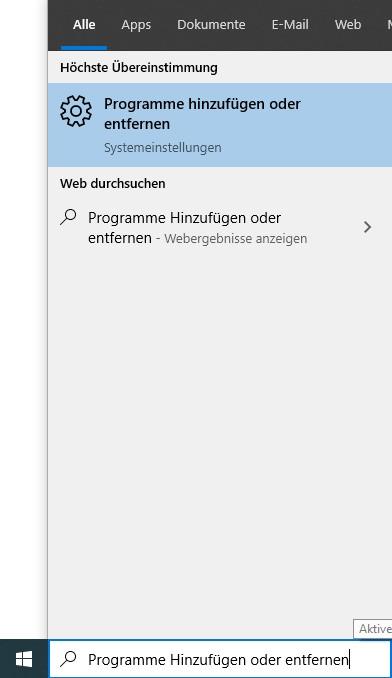 Hinzufügen / Entfernen von Programmen zu Windows
