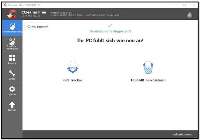 CCleaner hat die Reinigung des PCs abgeschlossen