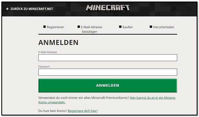 Erstellen Sie ein Konto bei Minecraft