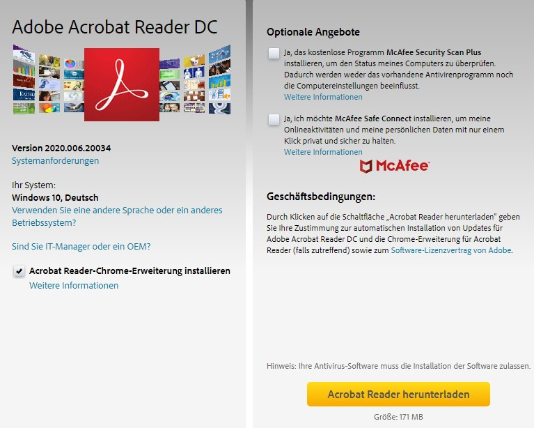 Adobe Acrobat Reader DC-Downloadseite
